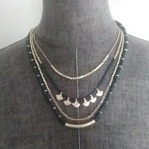{Express} Beaded Statement Necklace Black and Gold